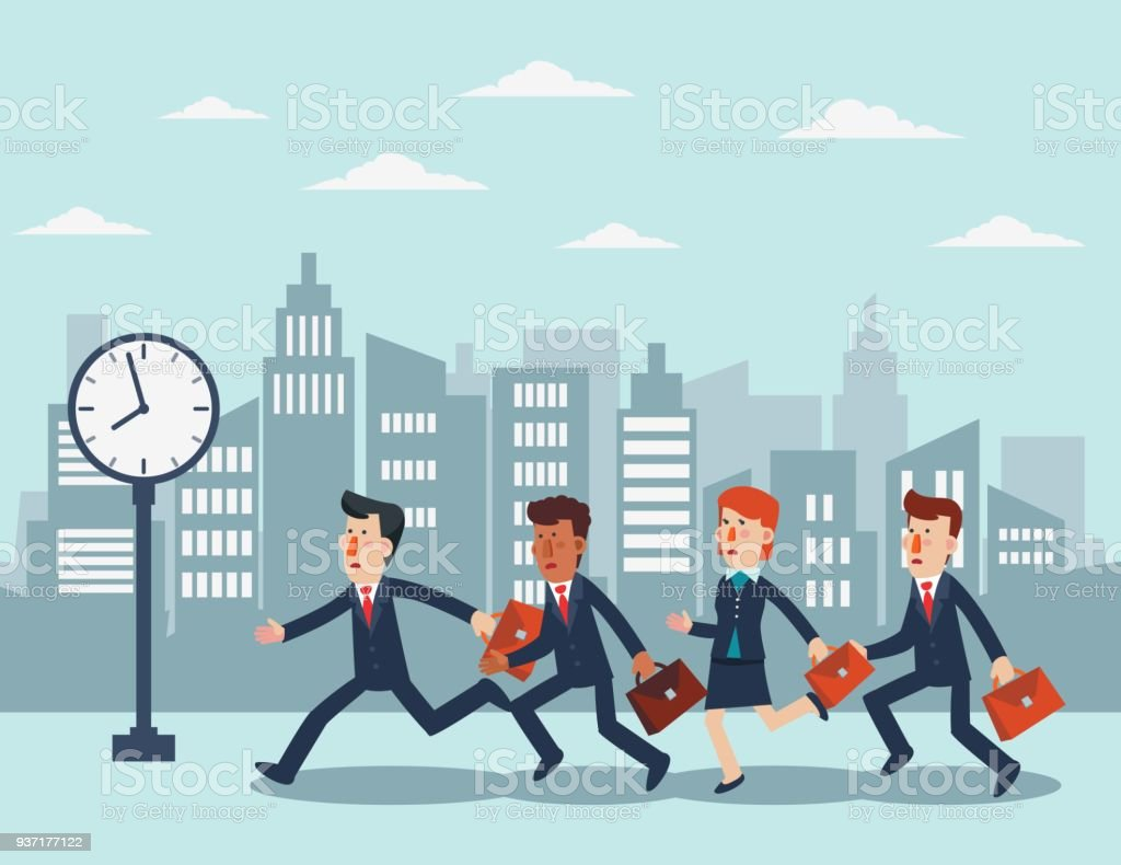 Business people running in the city street vector art illustration
