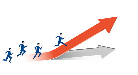 Business people running on rising arrows, positive business image