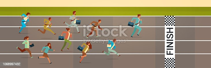 business people running sprint track competition concept flat horizontal vector illustration