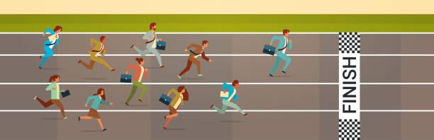 business people running sprint track competition concept flat horizontal business people running sprint track competition concept flat horizontal vector illustration finishing stock illustrations