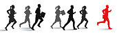 Business people running towards success and growth