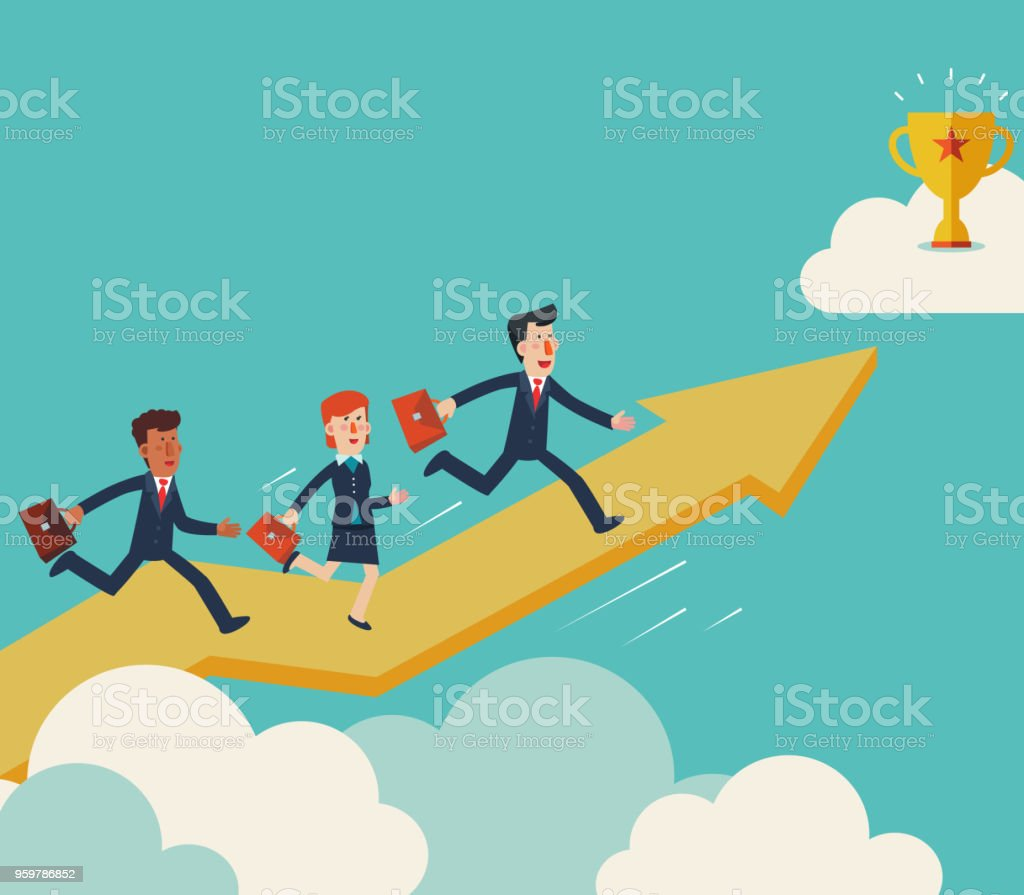 Business people running up on the growing graph arrow, towards a trophy. Business success vector concept vector art illustration