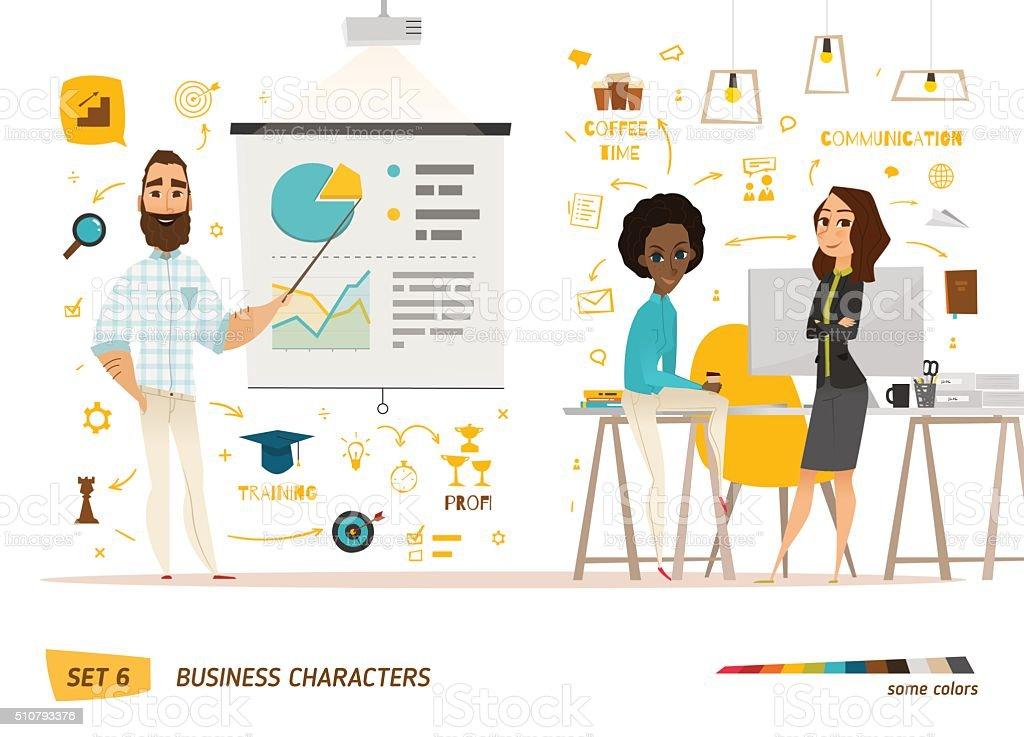 Pessoas de negócios de cena - ilustração de arte em vetor