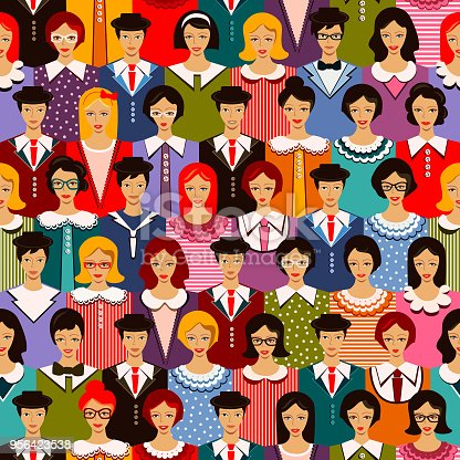 A colourful pattern made of highly detailed business people, that suggests unity and communication.