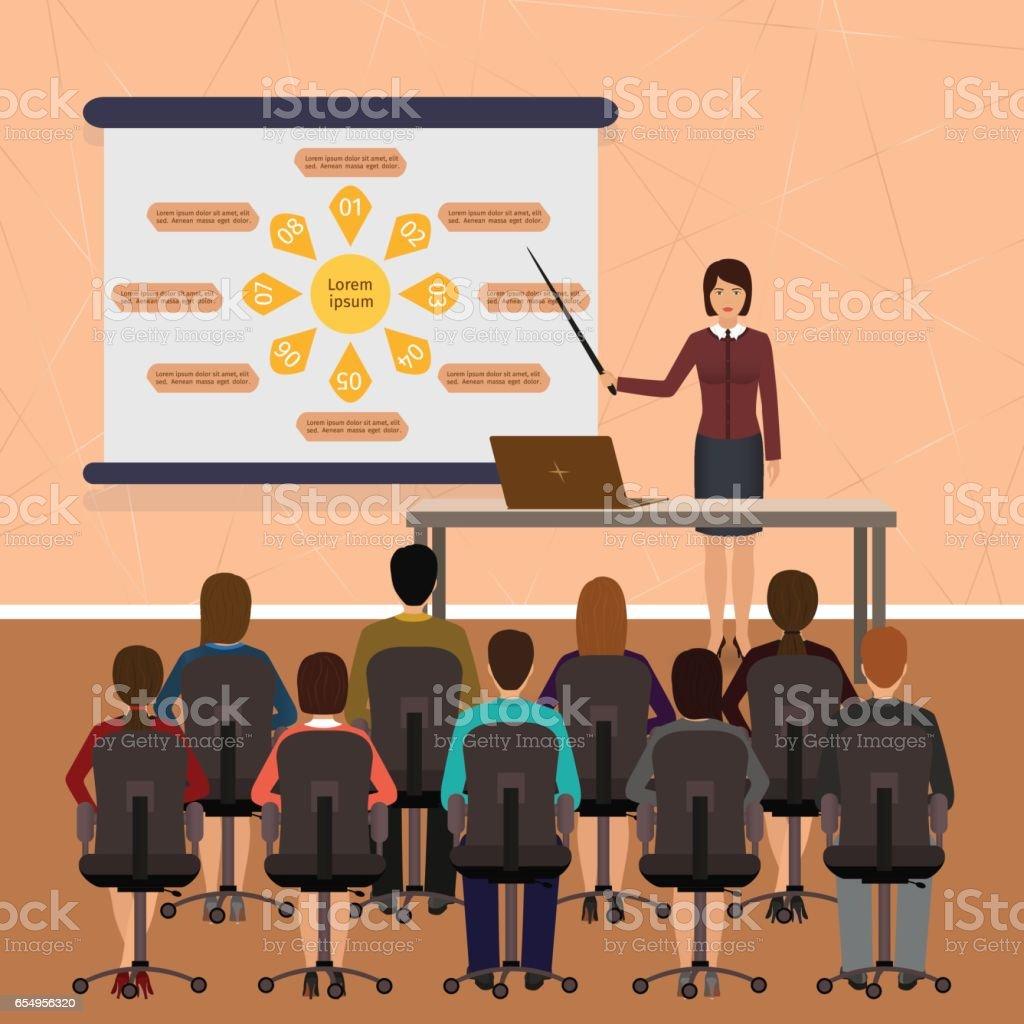 Business people seminar. Group office employee on a managment, finance, teamwork training. vector art illustration