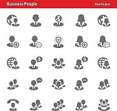 Professional, pixel perfect icons depicting various business people concepts (optimized for both large and small resolutions).