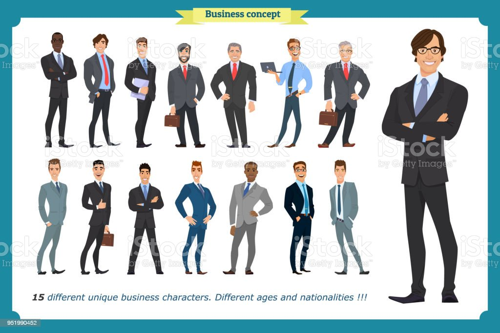 Business people set of men in suits isolated vector on a white.People character set in various poses different nationalities.flat cartoon . businessman.Teamwork. vector art illustration