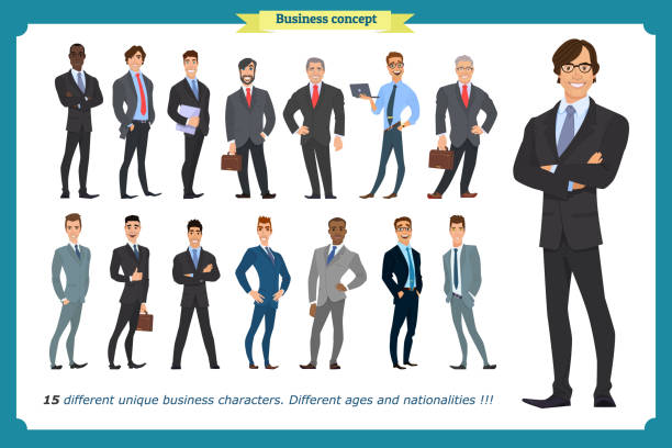 business people set of men in suits isolated vector on a white.people character set in various poses different nationalities.flat cartoon . businessman.teamwork. - business casual fashion stock illustrations