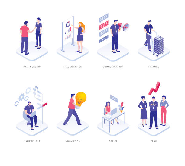 ludzie biznesu ustawiają - rzut izometryczny stock illustrations