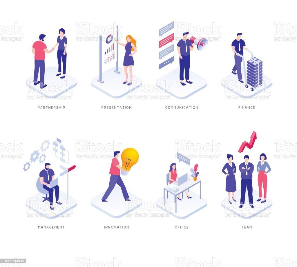 Pessoas de negócios conjunto - ilustração de arte em vetor