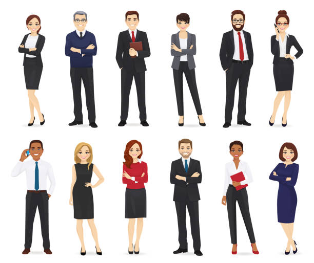 illustrazioni stock, clip art, cartoni animati e icone di tendenza di business people set - business man