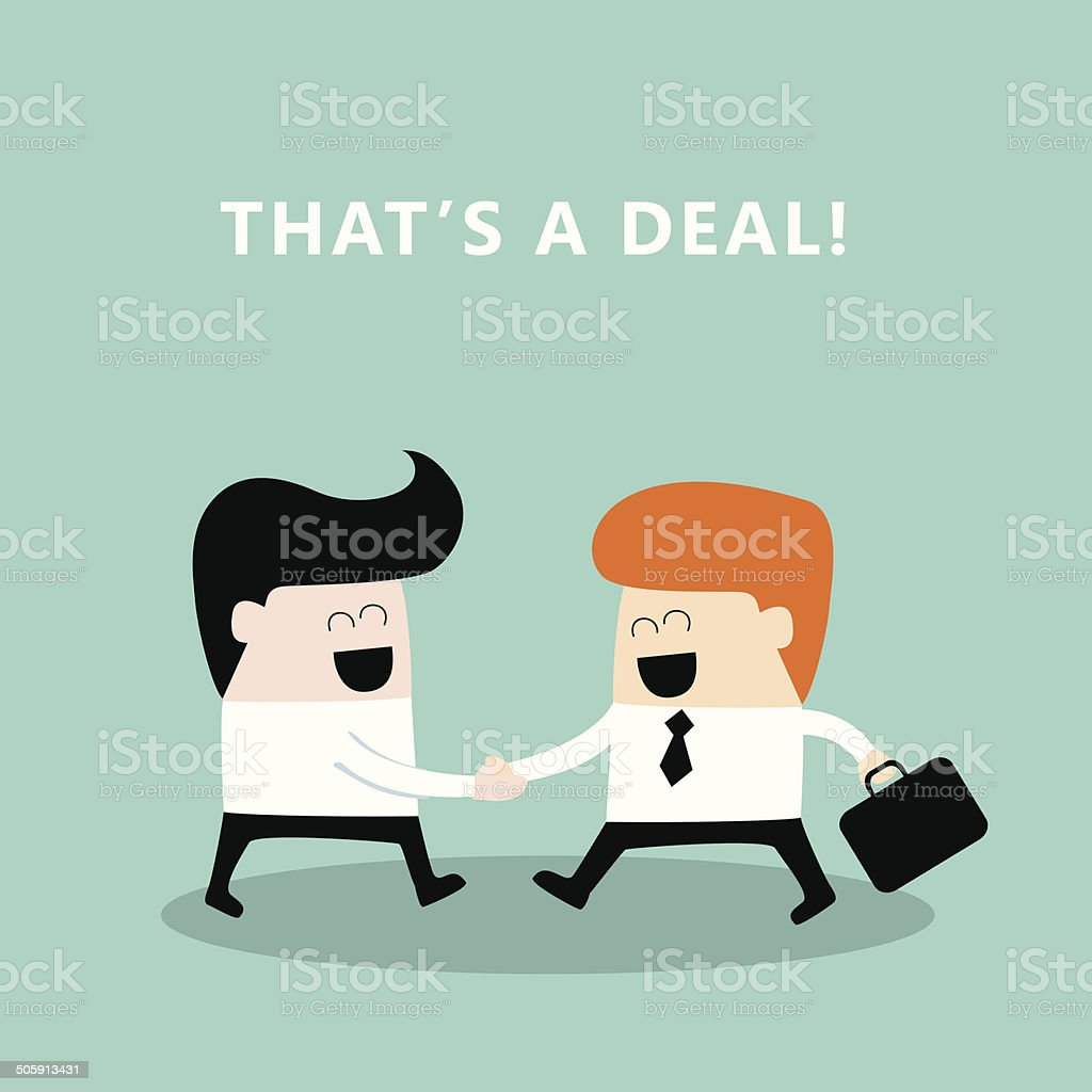 Business people shaking hands Businessmen making a deal successful business vector art illustration