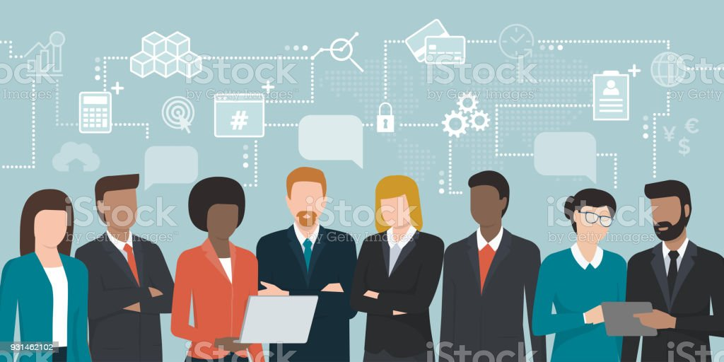 Business people sharing ideas vector art illustration