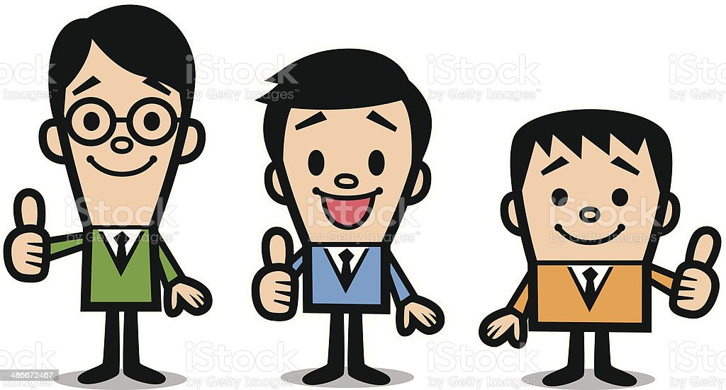 Business people showing thumbs up vector art illustration