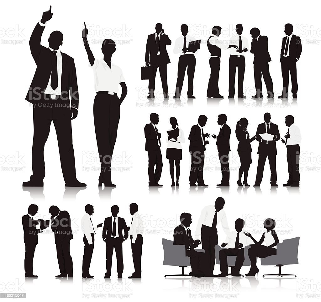 Business People Silhouette Collection vector art illustration