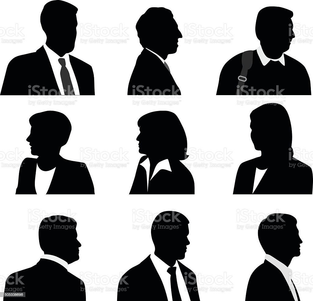 Business People Silhouette Profile vector art illustration