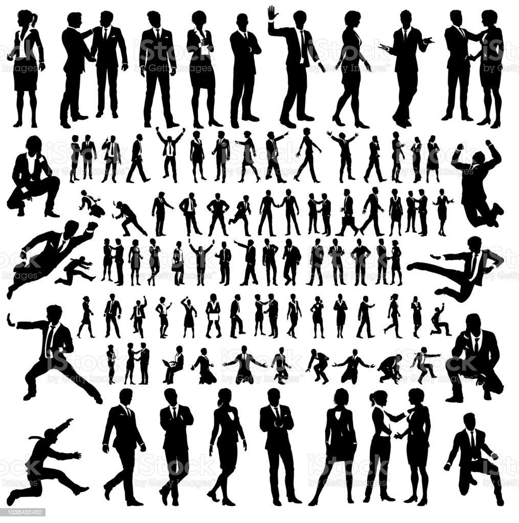 Sistema grande de negocio personas siluetas - arte vectorial de Adulto libre de derechos
