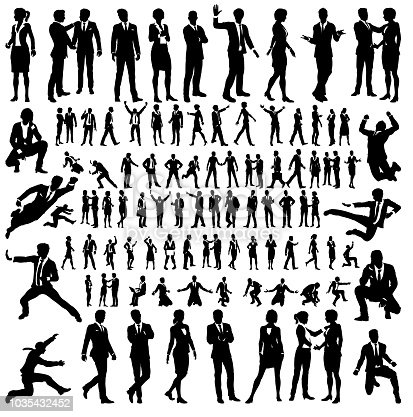 A set of many very high quality business people silhouettes