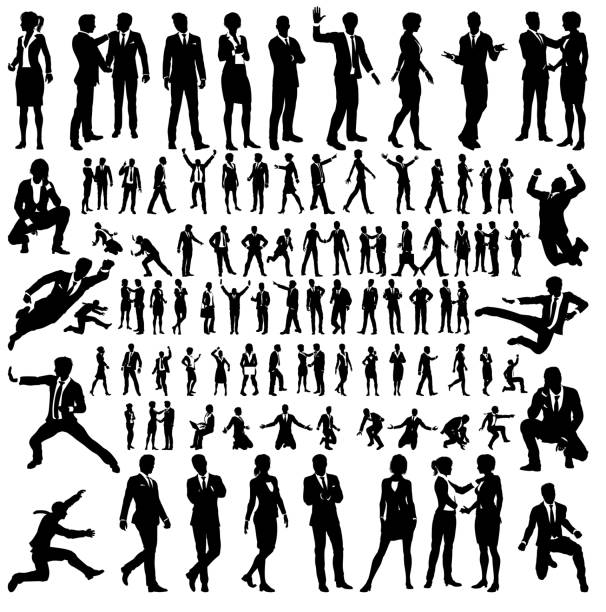 illustrazioni stock, clip art, cartoni animati e icone di tendenza di business people silhouettes big set - business man