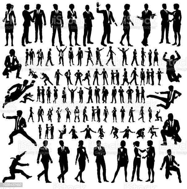 Ilustración de Sistema Grande De Negocio Personas Siluetas y más Vectores Libres de Derechos de Adulto