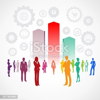 istock Business people silhouettes success and growth infographic expression. Colorful vector illustration. 1317805862