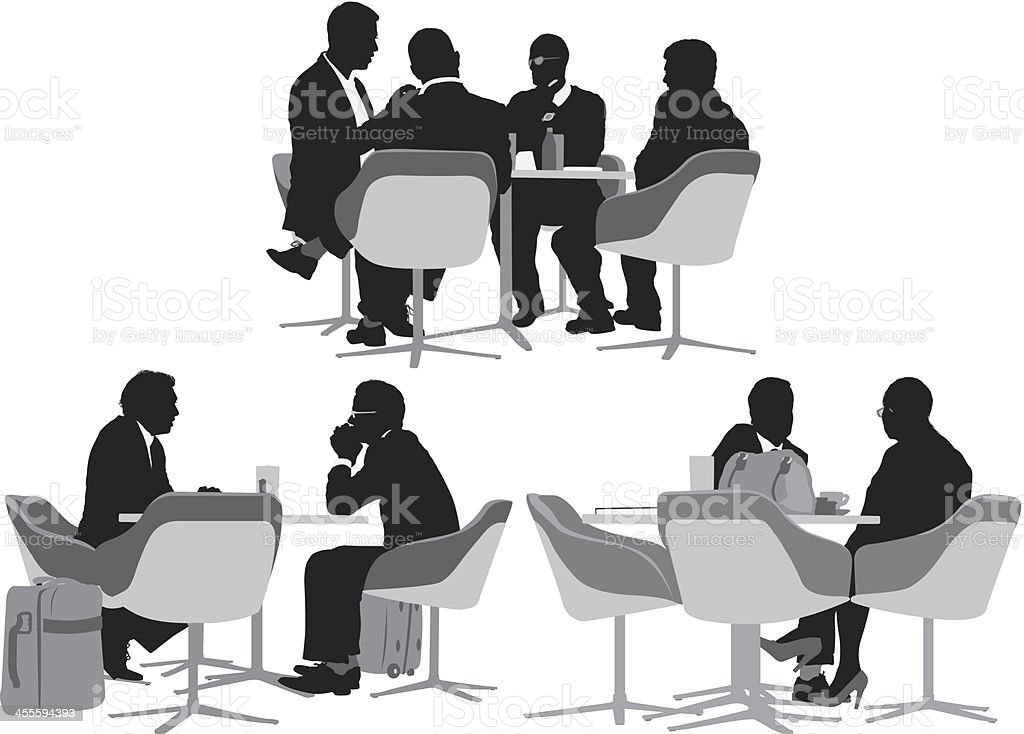 Business people sitting at restaurant vector art illustration