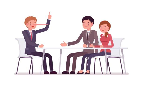 Business people sitting at the desk, man is a liar Group of business people sitting at the desk, man is a liar, nose grows in length when he tells a lie, cheating partners, promising unreal future, fraud for business owners, agent and careless clients bluff stock illustrations