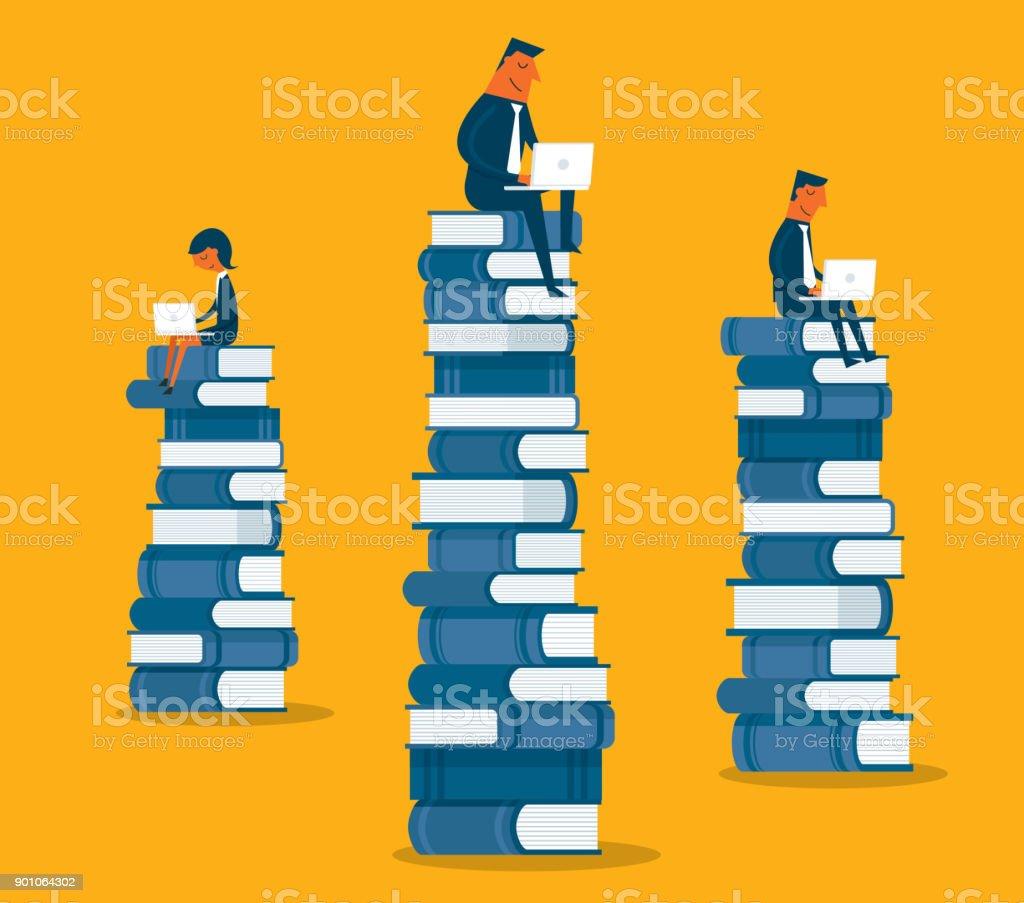 本の上に座ってビジネス人々 ベクターアートイラスト