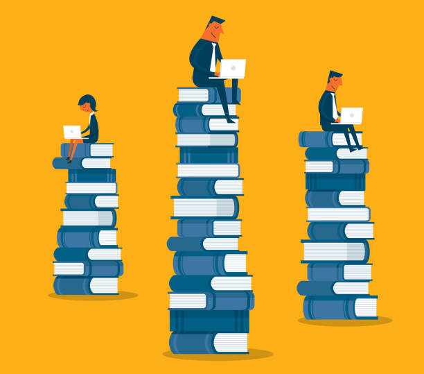 business people sitting on books - e-learning not icons stock illustrations