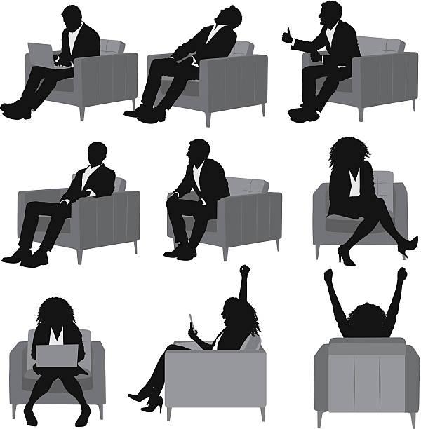 Business people sitting on sofa vector art illustration