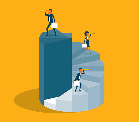 Business People Stand On Pie Diagram Stock Illustration - Download Image Now