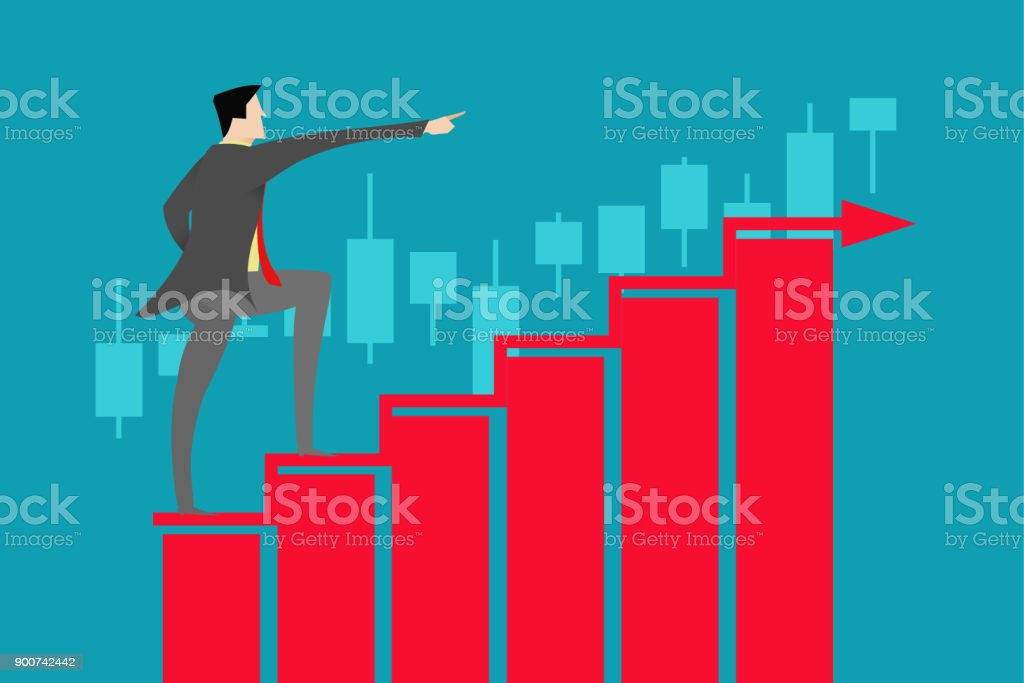 Business people standing above the stock market data to forecast the economy vector art illustration