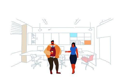 business people standing coworking space couple man woman colleagues brainstorming modern office interior creative workplace co working sketch doodle horizontal