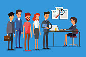 Concept of search staff. Creative people stand in line to the HR manager. Flat design, vector illustration