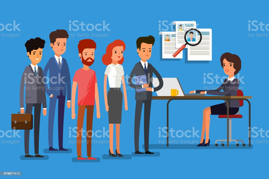 Business people standing in a line. vector art illustration