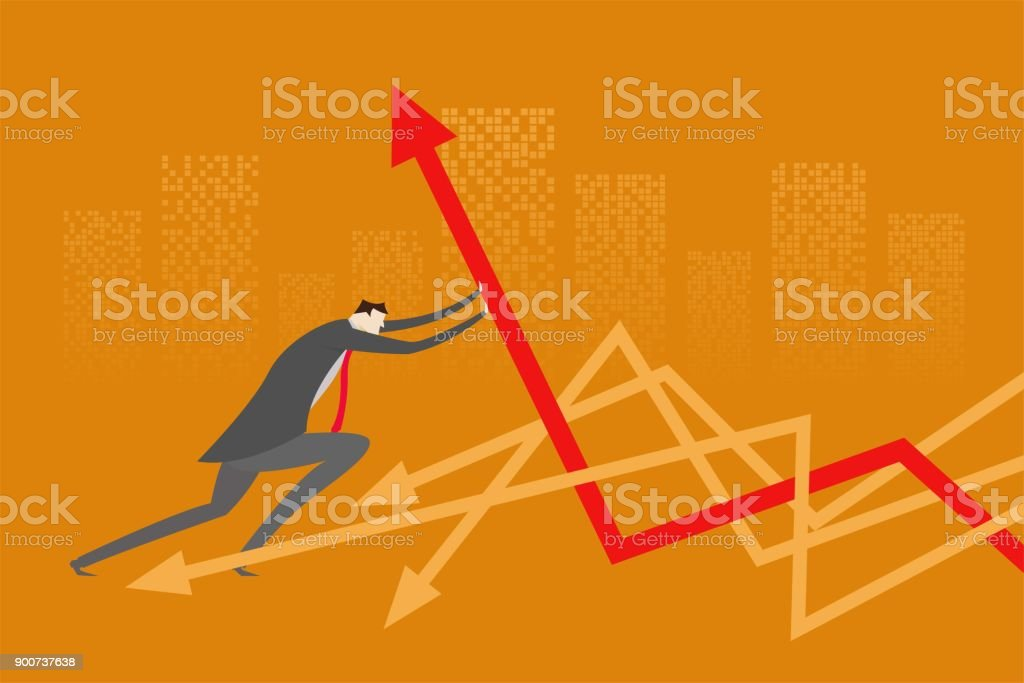 Business people standing in front of arrows vector art illustration