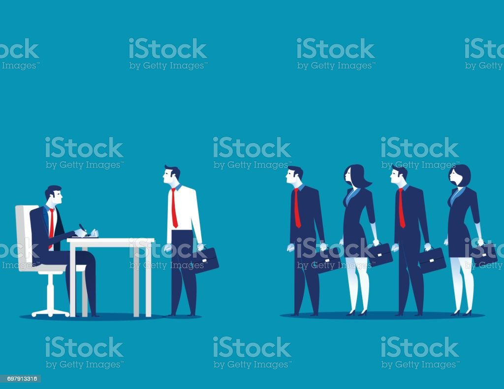 Business people standing in interview queue. Concept business vector illustration. vector art illustration