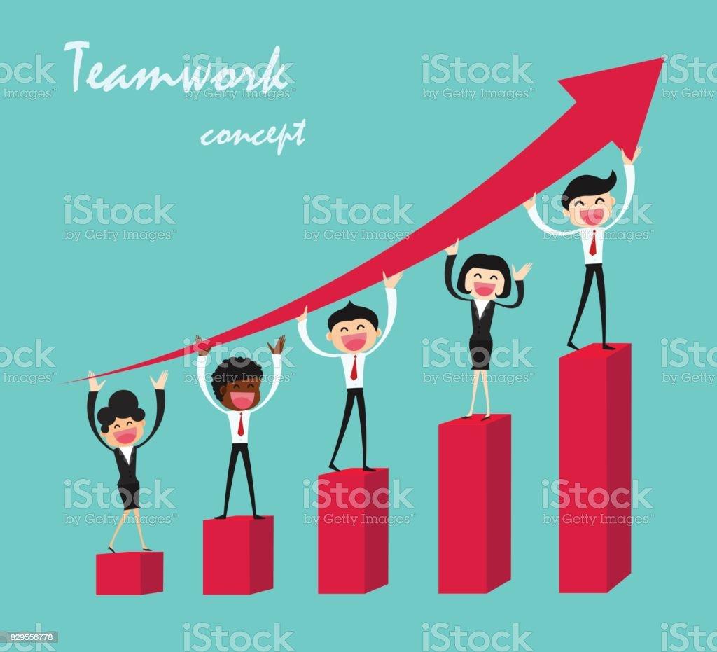 Gente de negocios en grupo financiero gráfico de barras. Concepto de personas de negocio de trabajo en equipo. Diseño vectorial - ilustración de arte vectorial
