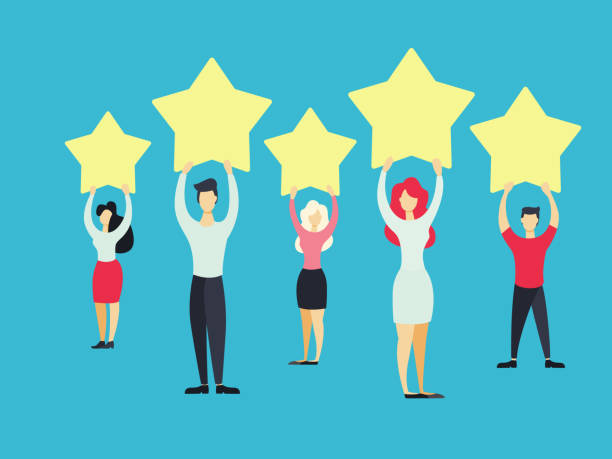 Business people standing. Business people standing with yellow stars on blue. five people stock illustrations