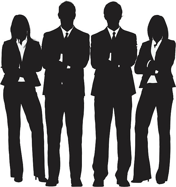 stockillustraties, clipart, cartoons en iconen met business people standing with their arms crossed - overhemd en stropdas