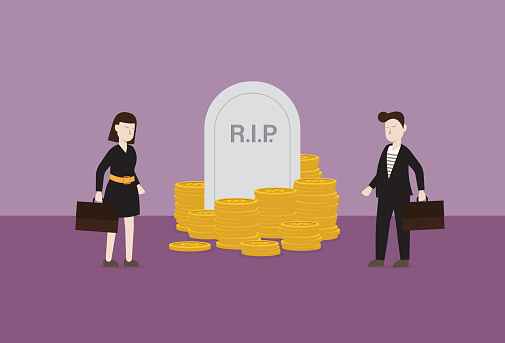 Business people stands in front of tombstone and money