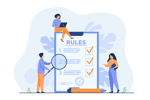 Business people studying list of rules, reading guidance, making checklist. Vector illustration for company order, restrictions, law, regulations concept
