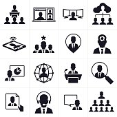 Business team and people icon and symbol set. Includes 16 symbols. The first row shows business conference, internet meeting, IT manager and cloud team. The second row shows a mobile device, business team leader, location marker and strategy. The third row shows graphs and charts, global business, speech and business magnifying glass. The fourth row shows profile document, phone support, speech bubble and business team heirarchy. EPS 10 file.