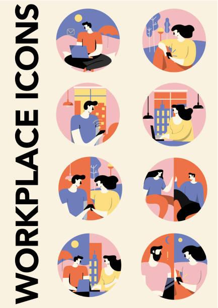 farklı işyerlerinde konuşan iş adamları. simge. çizim. i̇nsanlarla iş yerleri, düz tarz. şık. 2020 moda. - home office stock illustrations