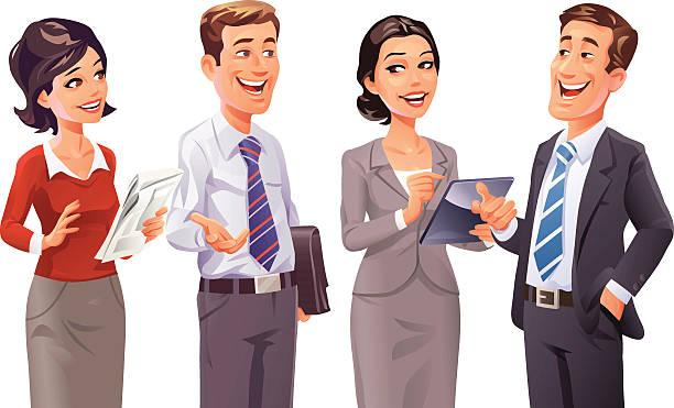 ilustrações de stock, clip art, desenhos animados e ícones de negócios pessoas a falar - homem casual standing sorrir