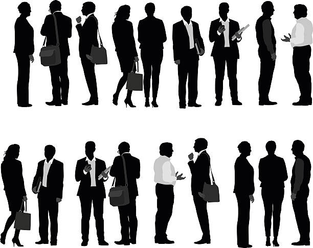 Business People Talking A vector silhouette illustration of many business men and business women. business silhouettes stock illustrations