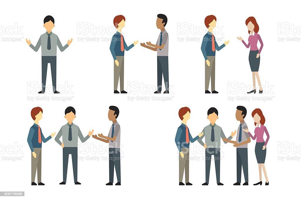 Business people talking vector art illustration