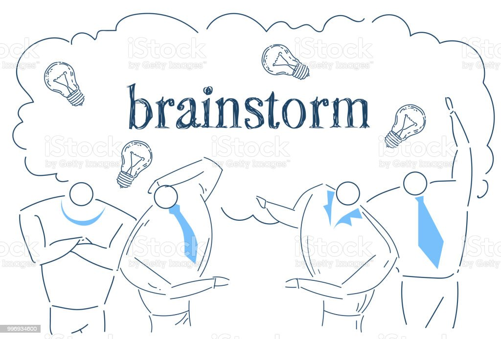 Business People Team Brainstorming Idea Light Lamp Working Together Process  Strategy Concept Sketch Doodle Stock Illustration - Download Image Now