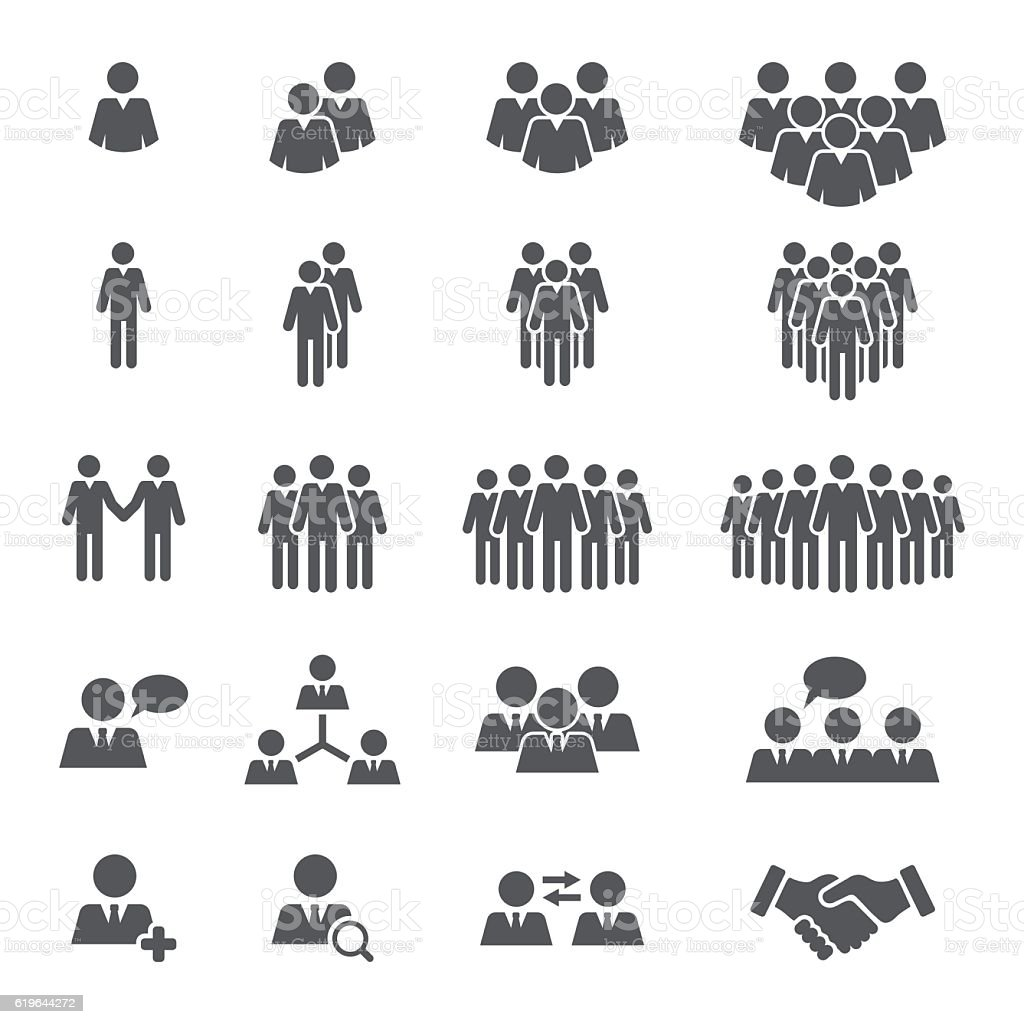 Business People Team Icon Set - ilustración de arte vectorial
