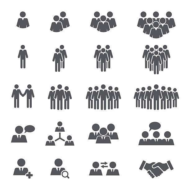 business people team icon set - supervisor stock illustrations, clip art, cartoons, & icons